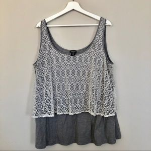 Torrid Plus Size Tank Top with Lace - Size 1